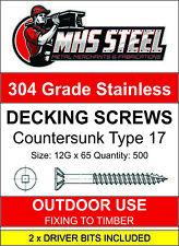 500pcs - 12G x 65mm Stainless Steel Timber Decking Screws