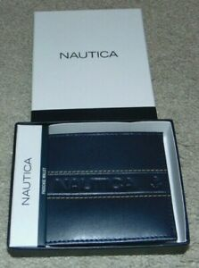 ~NEW Men's NAUTICA Passcase Anchor Leather Wallet! Nice FS~