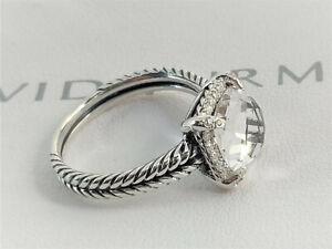 David Yurman 9mm White Topaz Chatelaine Women's Pave Bezel Diamonds Ring Size 8