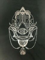 "BCBG Max Azria TShirt Black Gold Pattern ""Spiritual Symbol"" Large NWT MSRP $68"