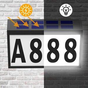 Solar Power LED Light Sign House Door Address Finder Plaque Number Plate Set US