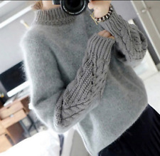 Womens Korea Knitwear Pullover Crewneck Long Sleeve Sweater Jumper Free Size