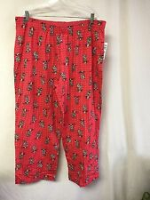 NWT Hue Women's Sleepwear Pajama Bottom Sleep Pant Size 3X Pinkish Red w/ Cats