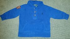 Ralph Lauren Boys 18M Blue Pony Shawl Collar Sweatshirt Perfect Condition!