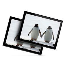 2 x Glass Placemats 20x25 cm - Cute Penguin Pair Holding Hands  #24000