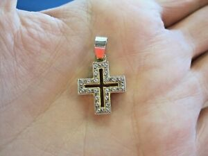 """Beautiful modern open design solid 14k 2 color GOLD 1"""" cross MUST SEE very nice"""