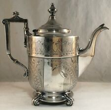 ANTIQUE FINE VICTORIAN  ENGRAVED SILVERPLATE PLATED TEA POT TEAPOT REED & BARTON