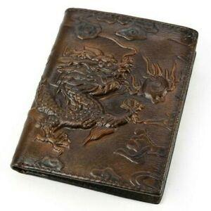 Unisex Chinese dragon desigen oil was genuine leather wallet