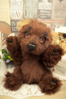 Realistic teddy bear, artist bear cub, ooak bear with paws claws, 10in brown