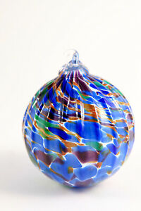 Blown PNW Art Glass Christmas Ornament Ribbed Ball Blue Purple Green Hangs 4""