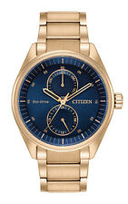 Citizen BU3013-53L Men's Gold Tone Eco Drive Paradex Day Date Blue Dial Watch