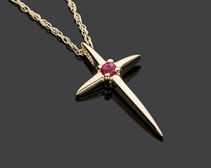Religious Cross Pendant Necklace with Natural Ruby Solid 14K Yellow Gold 18 Inch