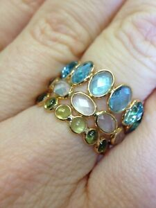 18K Yellow Gold Blue Topaz Chekerboard Facet Adjust 7.5-10 Semi Eternity Ring
