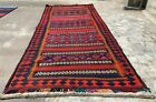 Hand Knotted Vintage Afghan Kalano Kilim Kilm Wool Area Runner 10 x 4 Ft