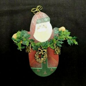 HAND PAINTED SANTA CHRISTMAS TREE ORNAMENT SIGNED JP LEVALLEY 2001 WOOD