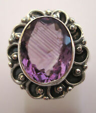 925 Genuine Silver Natural Purple Amethyst Ring Size L 1/2, US 6 (rg2021)