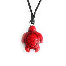 Turquoise Red Turtle Charm Pendant Choker Necklace with Black Cord