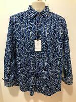 Robert Graham Silver City Mens Sz L Blue Long Sleeve Classic Fit Shirt $198 NWT