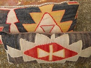 Pair Southwestern Kilim Throw Pillows Tribal Antique Turkish Rug Lumbar