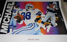 Michael Irvin SIGNED AUTO Artist Vernon Wells Signed Lithograph /750 JSA Cowboys