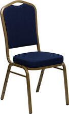 10 PACK Crown Stacking Banquet Chair in Navy Blue Patterned Fabric w/ Gold Frame