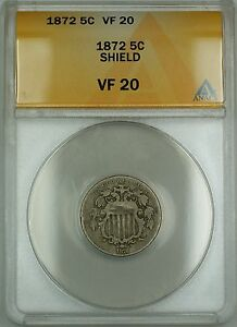 1872 Shield Nickel 5c Coin ANACS VF-20
