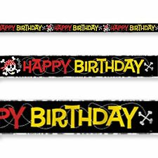 12ft Happy Pirate Skull Happy Birthday Party Foil Banner Decoration