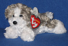 TY FETCH the GRAY & WHITE DOG BEANIE BABY - MINT with MINT TAGS