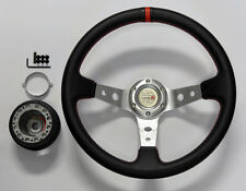 Honda Prelude 35cm JDM Black/Sil/Red Dish Steering Wheel w/ Boss Kit Hub Adapter