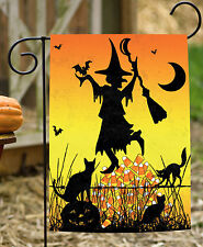 NEW Toland - Candycorn Witch - Spooky Black Halloween Kitty Cat Garden Flag
