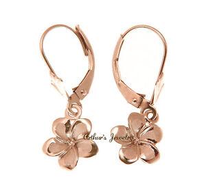 11MM SOLID 14K PINK ROSE GOLD HAWAIIAN FANCY PLUMERIA FLOWER EARRINGS LEVERBACK