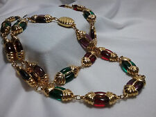 Vintage Gold Swarovski Crystal Red Green Purple Jewleled Long Swan Necklace-WOW