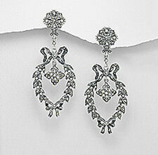 Sterling Silver 65mm Swiss Marcasite Bow Stud Dangle Earrings Premium back 13g