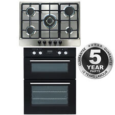 SIA Built In Double Electric Fan Oven and Stainless Steel 70cm 5 Burner Gas Hob