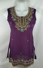 Indian Bollywood Sleeveless Top Kurti Small 28 Jewel Tones Purple Metallic Gold