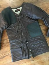 Vtg 10X Mid Century Military Leather Shooting Jacket Hunting Armor Padded Sniper