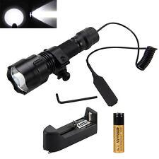 3000lm C8 XM-T6 LED Linterna Antorcha+Interruptor Presión Alejado+18650+Montaje