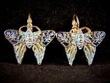 """Vintage Cloisonne Enamel Butterfly Earrings Figural Retro Costume Jewelry 1"""""""