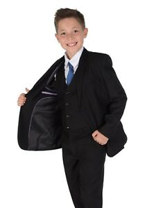 Boys Suits 5 Piece Wedding Page Boy Party Prom Suit Blue Black Grey 2-15 Years