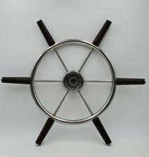 Vintage Nautical Stainless Steel Ship Boat Steering Wheel Wood Handle