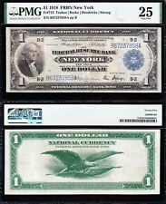VERY NICE Bold & Crisp VF+ 1918 $1 New York FRBN Note! PMG 25! FREE SHIP! 7858A