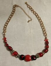 """Vintage Goldtone Metal Red Glass Bead Clear Crystal Bead 21.5"""" Necklace"""