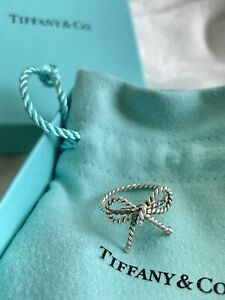 Tiffany & Co. Rare Twist Bow Ring Sterling Silver Size 5.5 With Pouch And Box