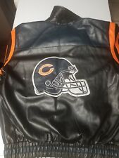 NFL CHICAGO BEARS PLEATHER JACKET SZ M LOOKS LIKE LARGE LOOK AT THE MEASUREMENTS