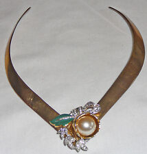 Choker, brass embellished with vintage faux pearl and enamel dress clip