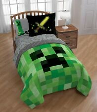 Minecraft Builders Boys Twin Comforter, Sheets & Sham W (5 Piece Bed In A Bag)
