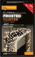 Festive Xmas 480 LED Warm White Cluster Frosted Caps Christmas Lights In/Outdoor