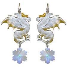 Kirks Folly Dragon's Holiday Leverback Earrings silvertone  Snow Dragon
