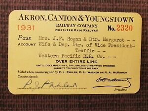Vintage 1931 Akron, Canton & Youngstown Railway Company Pass