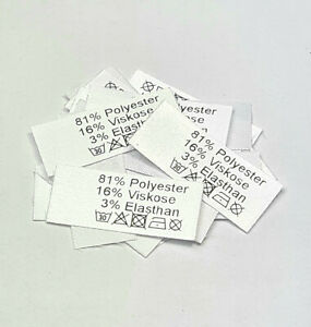Textiletiketten 81% Polyester 16% Viskose 3% Elasthan